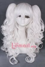 65cm long White Anime Lolita clip on ponytail curly wave cosplay wig RW139-E