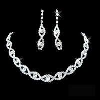 GC- Women Rhinestone Twisted Necklace Dangle Earrings Bridal Wedding Jewelry Set