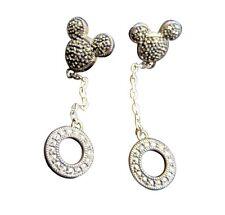 Judith Jack Pierced Earrings Mickey Mouse Disney Sterling Silver Marcasite 189g