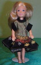 Olive Green & Black Medallion Print Dress for Chelsea Barbie Doll CHMS17