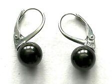 Schungit & Shungit Ohrringe mit Perlen aus 925er Sterlingsilber / Zertifikat