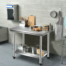 Stainless Steel Kitchen Work Prep Table Bench With 4 Wheels Commercial Restaurant