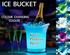 PERSONALISED GIFT , PROSECCO WINE COOLER, ICE BUCKET LIGHT UP LED COLOUR CHANGIN