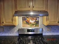 21.25 x 12.75 Art Mural Ceramic Rooster Backsplash Decor Tile #140
