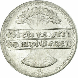 [#677258] Coin, GERMANY, WEIMAR REPUBLIC, 50 Pfennig, 1922, Karlsruhe, VF(30-35)