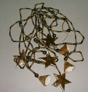 ANTIQUE GRAY & GOLD MERCURY WITH PAPER GOLD STARS & BELLS-BEAUTIFUL
