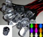 10mm Ultra Bright Pre-wired Constant/Flashing 12v LEDs Black Plastic Holders