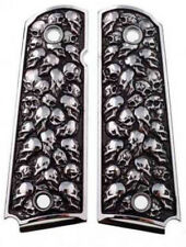 1911 fits Colt Rock Island 3D Skulls Pewter Finish Solid Aluminum Grips Full