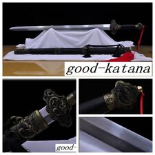 """Hand Forge Chinese Sword """"Double Dargo Swords""""(劍) Pattern Steel Alloy Fittings#2"""