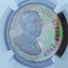 Rainbow Toned 1969 South Africa Afrikaans Silver Rand  NGC PF66  proof R1