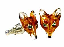 FOX CUFFLINKS, STERLING SILVER, ENAMEL by G.DANILOFF & CO.USA
