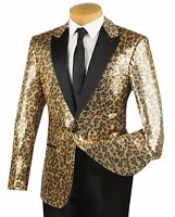 Vinci Men's Gold Leopard Print Sequins 1 Button Peak Lapel Tuxedo Jacket NEW
