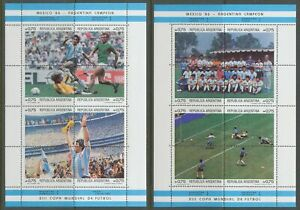 [PG1] Argentina 1986 Football set very fine MNH stamps in 2 sheets