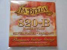 La bella 820b Flamenco Noir en Nylon Plaqué Argent MEDIUM TENSION Cordes guitare