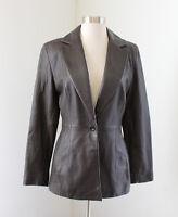 Vtg Cache Womens Dark Brown Leather One Button Blazer Jacket Size 4
