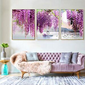 Romantic Swan lake Purple flower 3 PC Canvas Print Wall Art Home Decor Cuadros
