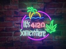 "New It's 420 Somewhere High Life Marijuana Leaf Neon Lamp Homeroom Wall Decor17"""