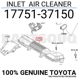 1775137150 Genuine Toyota INLET  AIR CLEANER 17751-37150