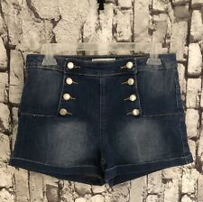 Almost Famous Sailor Pin-up High Waist Button Front Shorts Women's Size 9 Euc