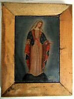VTG ANTIQUE CUZCO PERU SMALL RELIGIOUS OIL ON CANVAS PAINTING VIRGIN MARY - PERU