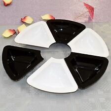 3 x Black & White Plastic Bowls 6 Part Triangular- Sweets & Dips Dish-Partyware
