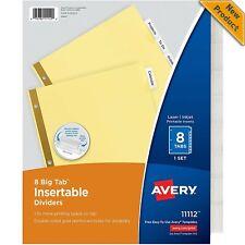 New Listingavery 8 Tab Binder Dividers Insertable Clear Big Tabs 1 Set 11112