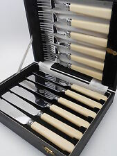 VINTAGE CASED FISH EATING CUTLERY SET - TURTON SHEFFIELD - FIRTH STAINLESS STEEL