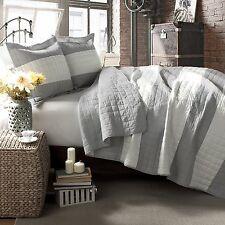 Lush Decor Berlin Stripe 3 Piece Quilt Set, Full/Quen, Gray