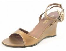 Damas Zapatos de noche fiesta boda Cuña Tacón Alto Sandalias De Mujer Bronce Nueva