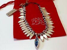 "NWT Uno de 50 Silvertone Necklace w/ Blue Swarovski Pendant ""Coming Now"" 17"""