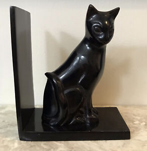 Beautiful Black Cat Kitten Bookend Metal Solid Vintage Art Deco Decor