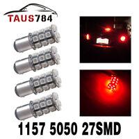 4x Red BAY15D 1157 27-SMD 5050 LED Light Bulbs Turn Signal Tail Brake Stop 12V