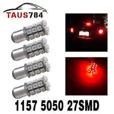 4x Red BAY15D 1157 27-SMD 5050 LED Light Bulbs Turn Signal Tail Brake Stop 12V