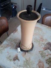 pied de lampe céramique sur socle bois vintage 1950 moderniste floor lamp 60's