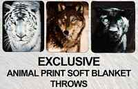 LUXURY LARGE SUPER SOFT ANIMAL PRINT MINK FAUX FUR BLANKET BED SOFA THROWs