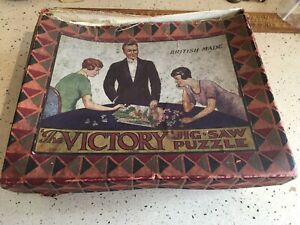 Early Vintage Wooden Jigsaw Puzzle, Vintage Jigsaw Puzzle By Victory, Boxed