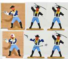Six (6) Timpo Last Series 7th Cavalrymen - 1 w Wounded Head - 54mm toy soldiers