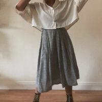 Vintage 90s Grey Striped Cotton Midi Skirt Grunge Boho Prairie Folk UK 10