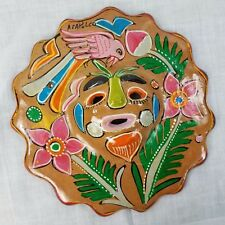Wall Plaque Mask Face Pottery Colorful Acapulco Bird Flowers 7 1/4 in diameter