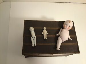 3 Antique Small All Bisque Dolls - Need TLC