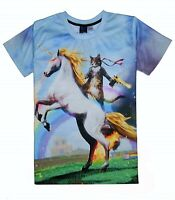 Cat Riding Unicorn with Golden Gun T-Shirt ( all over funny printed print tee )