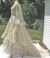 1860s Vtg Sheer Silk Wedding Dress Train Overskirt Satin Rosettes Puffing Trim