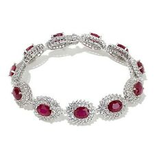 Victoria Wieck Ruby and White Topaz Sterling Silver Tennis Bracelet HSN $499.90