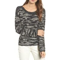Eileen Fisher Bateau Neck Pullover Sweater Size L Black and White Knit MSRP:$358