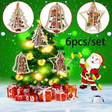 6PCS 3D Xmas Tree Pendants Hanging Wooden Christmas Decorations Home Party Decor