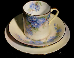Beautiful Australian Pottery Artist Julie Boland Hand Painted Demitasse Trio
