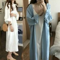 Lady Loose Long Shirt Blouse Dress Retro Casual Cotton Oversized White Blue Chic