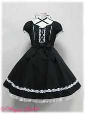 black white gothic lolita lace kawaii bow full skirt swing dress creepy cute