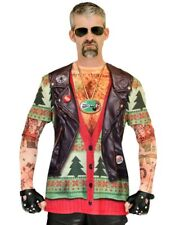 XL Faux Real Costume T- Shirt Xmas Christmas Ugly Biker Sweater Vest Funny Party