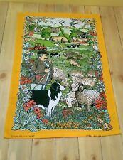 vintage unused tea towel linen Shepherd sheep sheepdog countryside cottage linen